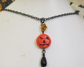 Creepy Cute Halloween Jack-o-lantern and Star Bead Charm Necklace on Metallic Black Chain