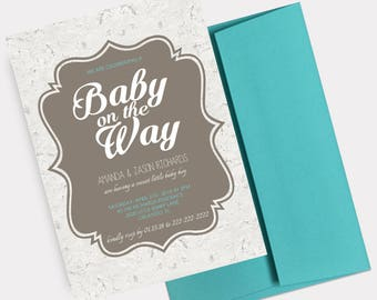 Rustic Baby Shower Invitation, Couples Baby Shower Invite, Baby Announcement, Baby Boy Shower, Co-ed Baby Shower - PRINTABLE - Digital File