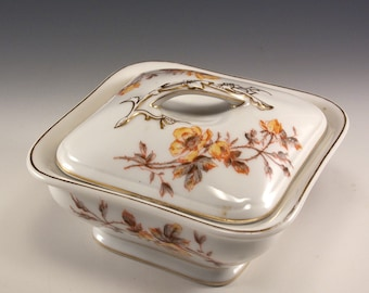 Vintage Tressemann and Vogt Three Piece Square Lidded Serving Dish in a yellow rose marguerite design