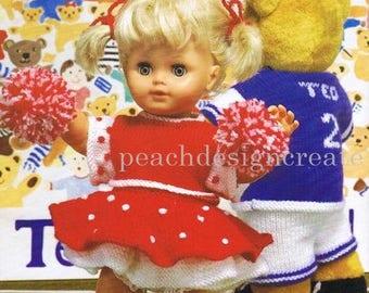dolls outfit, cheerleader, knitting pattern, pdf, digital download