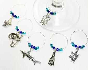 Scuba Diving Wine Charms, Blue Scuba Diver Gift, Beach Décor, Scuba Diver Wine Glass Tags, Gifts for Wine Lovers, Scuba Nautical Décor