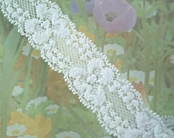 3yd White Stretch Lace Ribbon Elastic Trim 1 inch wide DIY Wedding Baby Headbands, lingerie Edging Scallop edge floral design cute
