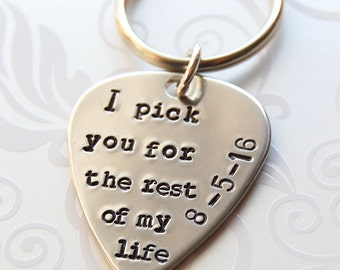 Bride to Groom gift, I pick you for rest of my life, Guitar pick key chain, Wedding day gift to Groom