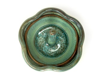 Ceramic flower ring holder, Teal pottery ring dish, Ring bowl with glass accent