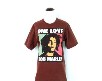 Vintage Bob Marley T-Shirt 1990's Bob Marley One Love Shirt Over bleached Brown Cotton Distressed Grunge Tee Reggae Music Adult Small Shirt