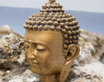 Lucky Buddha Head, Yoga Buddha Head, Meditation Buddha Face Head, Protector Buddha Statue, Healing Buddha Head Shape, Gold Buddha Face Shape