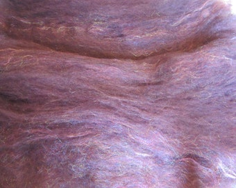"""2.0 Oz. Alpaca Handcrafted Carded Batt of Hand Dyed Alpaca - Purple - with Pink Firestar for """"Sparkle"""""""