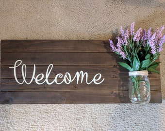 Welcome sign with Mason jar planter