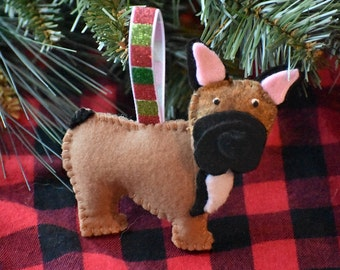 Handmade Felt French Bulldog Ornament