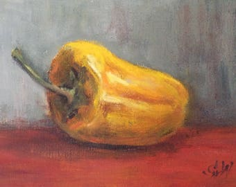 """Yellow Pepper Painting Original Oil  Painting 5 x 7"""""""