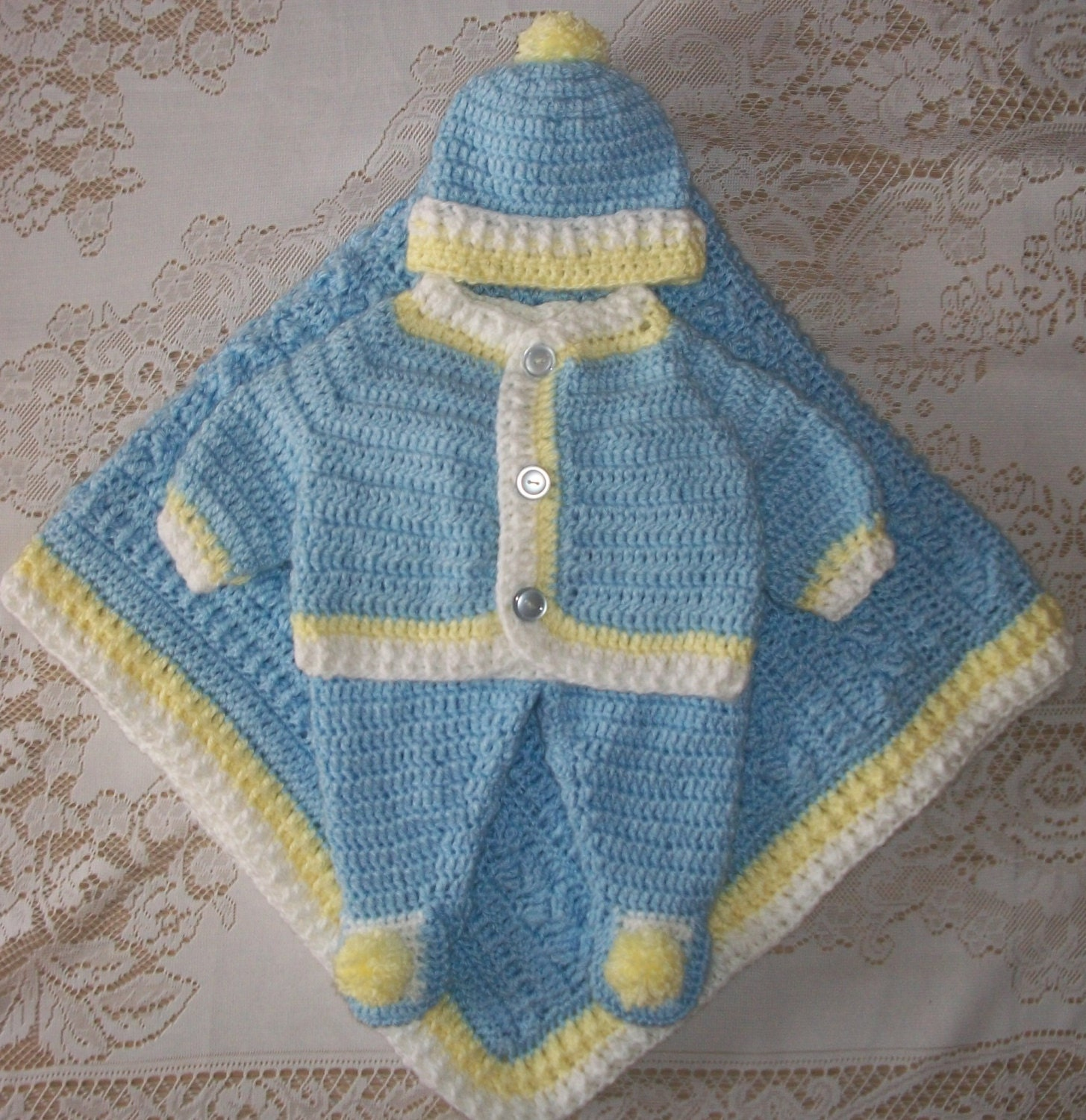 Crochet Baby Boy Sweater Set Layette Outfit with Cable Blanket