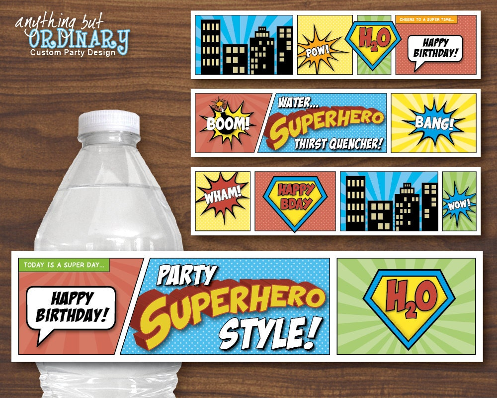 Superhero Water Bottle Labels DIY Comic Book Birthday Labels