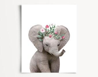 Girls nursery decor, INSTANT DOWNLOAD, Elephant print, The Crown Prints, Flower crown animals, Baby animals art, Nursery animal prints, Kids