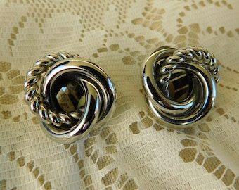 Silver Earrings, Clip On Earrings, Vintage Earrings, Vintage Costume