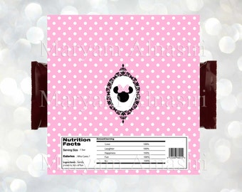 Minnie mouse  theme chocolate Bar Wrapper , minnie favor,pink, INSTANT DOWNLOAD ,DIY . Digital file