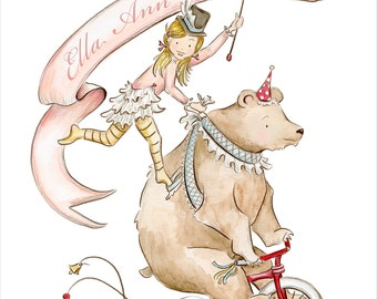 Personalized Penelope and the Circus Bear Childrens Print Nursery Decor