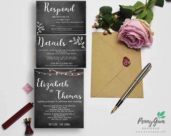Wedding Invitation Set - Beautiful Barbara - DIY Printable Wedding Stationery, Editable PDF
