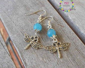 Something Blue Earrings Dragonfly Earrings Gemstone Earrings Dangle Earrings Boho earrings Bohemian jewelry Beaded Earrings