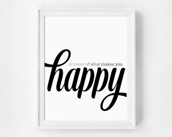Inspirational Quote, Happy Art, Happy Print, Typography Print, Minimalist Poster, Minimalist Art, Happy, Office, Inspirational Print