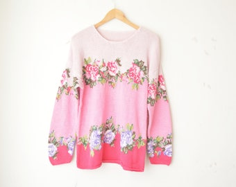 pastel floral rose print hand knit oversized loose fit sweater pullover 80s // M-L