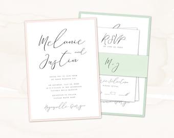 Wedding Invitation, Wedding Invite, Classic Handwritten Script, Custom Colors | PRINTED SAMPLE