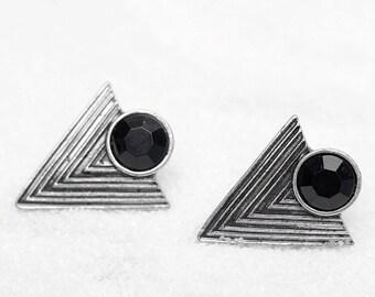 Vintage Geometric Black Bohemian Stud Earrings