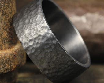 8mm Oxidized, Blackened over 925 Sterling Silver Hand Forged, Hammered Handcrafted Flat Pipe Cut Wedding Band Ring, FREE Sizing & Engraving