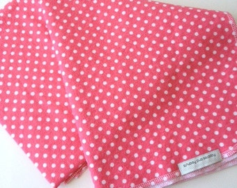 Coral baby blanket with white polka dots-- extra large swaddle size
