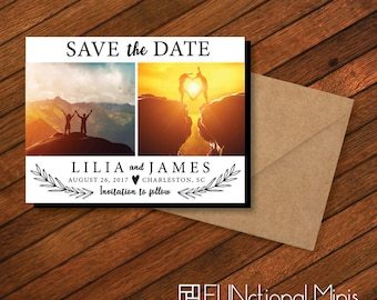 Save the Date Magnets, personalized, photo magnets, engagement, floral invite, wedding, personalized gift, save the date + Envelopes