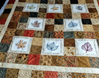 Autumn Fall toned lap quilt, embroidered leaves patchwork sofa / couch throw