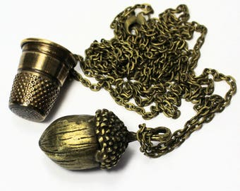 Thimble and Acorn Necklaces Peter Pan Jewelry Thimble & Wendy Kiss Necklace SET in Brass, Men, Women, Sweetheart, Lover, Sister, Best Friend