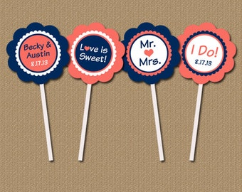 Bridal Shower Cupcake Toppers - Personalized Modern Printable Wedding Decorations - Navy, Coral Wedding Toppers - Wedding Cupcake Picks
