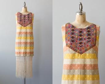 Neapolitan Sky dress   Vintage upcycled 1960s cotton dress with Indian trim and fringe ethnic boho
