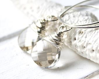 Gray Swarovski Crystal Earrings, Silver Shade Sterling Silver Wire Wrapped Teardrops, Handmade Sterling Silver Earwires