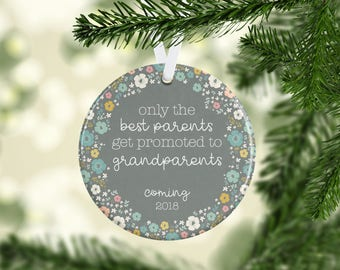 Birth Announcement Ornament, New Grandparents Ornament, Pregnancy Ornament, Personalized Baby Ornament, Only the Best Parents Get Promoted