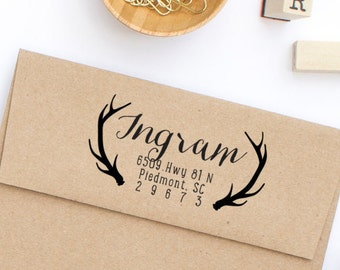 Custom Return Address Stamp, Personalized Stamp, Self-Inking Return Address Stamp, Wood Mounted Stamp, Antlers Address Stamp - Style No. 27