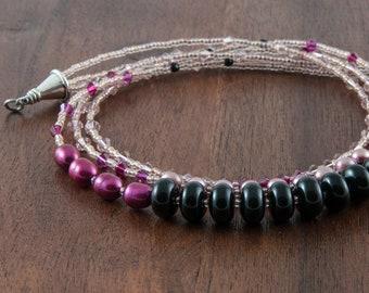 3-strand, gemstone, pearl & Swarovski crystal necklace / Elegant beaded necklace in black, pink and mauve / Short, multi-strand necklace