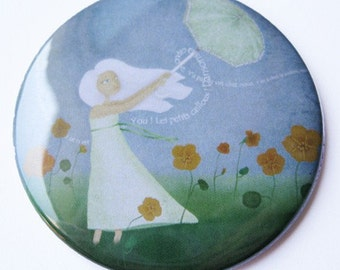 Pocket mirror 2 1\/4 in - Illustration 'Dancing with Nasturtiums' - FREE SHIPPING