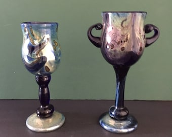 vintage slater glass pair of hand made drinking cups