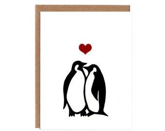 Penguins in Love -- Screenprinted Valentine's Day Card