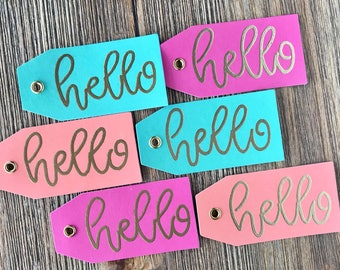 Set of 6 Gift Tags, Set of 3 - Gold Colorful Gift Tags - Just Because - Birthday Gift Tag - Gift Wrapping - Girly Tag - Party Favor Tag -