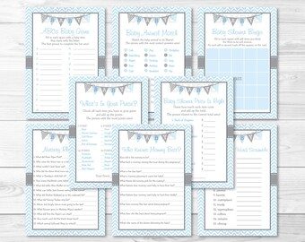 Blue Chevron Baby Shower Games Package / 8 Printable Games / Baby Boy Shower / Baby Shower Games / INSTANT DOWNLOAD A218