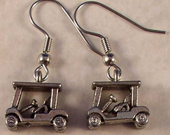 Pewter golf cart earrings on surgical steel french wires.