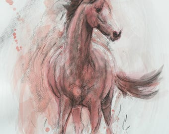Original horse art equine art energy and movement equine horse mixed media sketch movement art drawing 'Splash I' by H Irvine