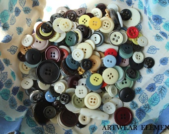 Vintage Mixed Buttons, Variety Lot, Sewing, Craft, Findings, Novelty, Scrap Booking, Gems, Many Sizes, Multi Colored, 5 Ounces #BF