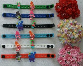 10 Trolls Silicone Bracelets Party Favors