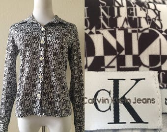 vintage 90's CALVIN KLEIN LOGO shirt - black & white, extra small, small