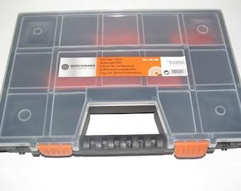 BOÎTE / casier de rangement  noir & TRANSPARENT 12 CASES 30X40 cm