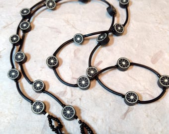 SALE: Whimsical Black Pinwheel Fimo Polymer Clay, Glass Beads, Rubber Tubing Eyeglass Chain