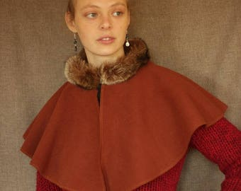 Capelet (Cap) or brick orange Cape with collar fur (adult or child) Cape Diem